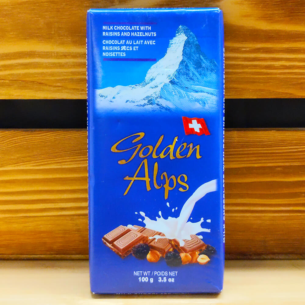Golden Alps - Milk Chocolate with Raisins & Hazelnuts (100g)